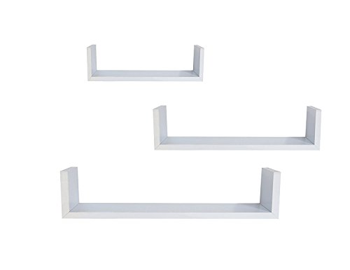 EWEIS HomeWares WHC1004CD WH 3 Floating U Shelves White 0