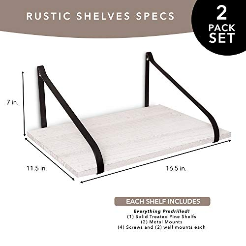 East World Floating Shelves Set Of 2 Rustic Shelves Wall Mounted Rustic White 0 0