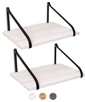 East World Floating Shelves Set Of 2 Rustic Shelves Wall Mounted Rustic White 0 300x360