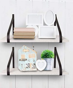 East World Floating Shelves Set Of 2 Rustic Shelves Wall Mounted Rustic White 0 4 300x360