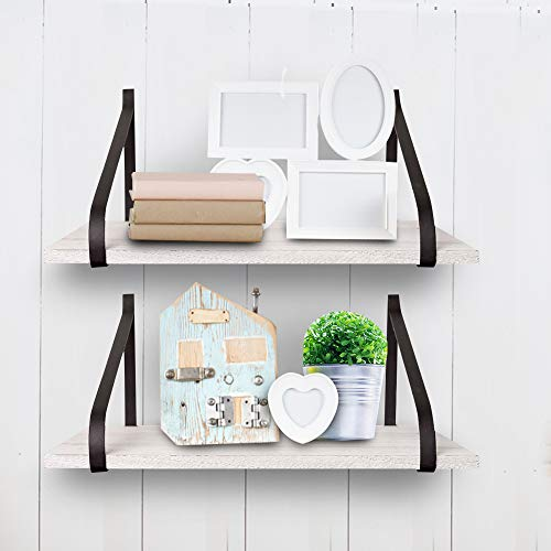 East World Floating Shelves Set Of 2 Rustic Shelves Wall Mounted Rustic White 0 4
