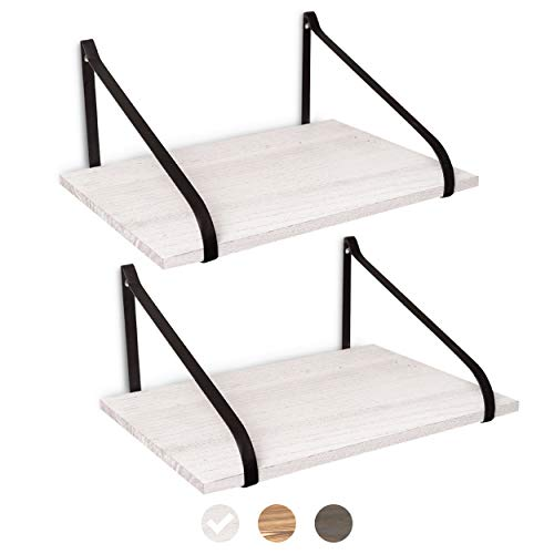 East World Floating Shelves Set Of 2 Rustic Shelves Wall Mounted Rustic White 0