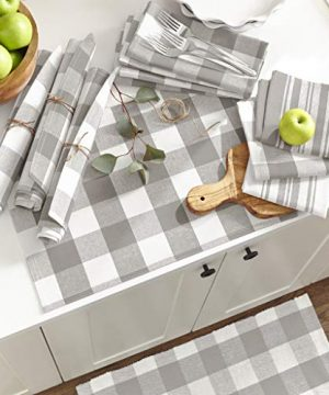 Elrene Home Fashions Farmhouse Living Stripe And Check Kitchen Towels Set Of 3 17 X 28 GrayWhite 3 0 0 300x360