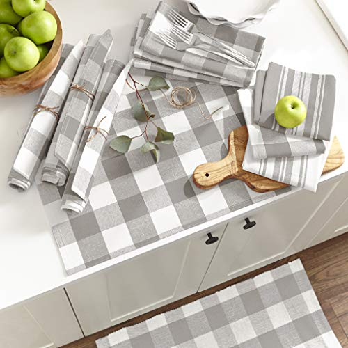 Elrene Home Fashions Farmhouse Living Stripe And Check Kitchen Towels Set Of 3 17 X 28 GrayWhite 3 0 0