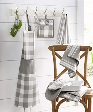 Elrene Home Fashions Farmhouse Living Stripe And Check Kitchen Towels Set Of 3 17 X 28 GrayWhite 3 0 1 300x360