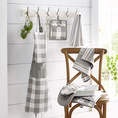 Elrene Home Fashions Farmhouse Living Stripe And Check Kitchen Towels Set Of 3 17 X 28 GrayWhite 3 0 1