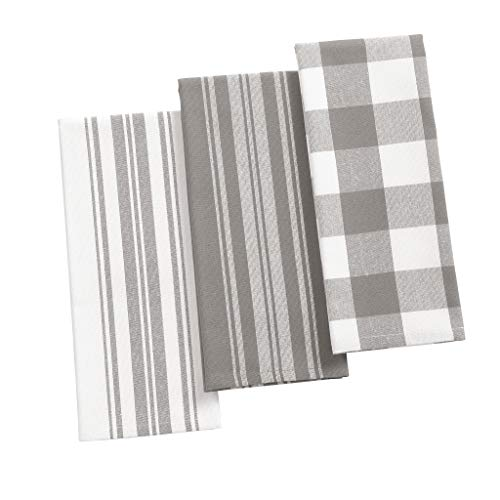 Elrene Home Fashions Farmhouse Living Stripe And Check Kitchen Towels Set Of 3 17 X 28 GrayWhite 3 0