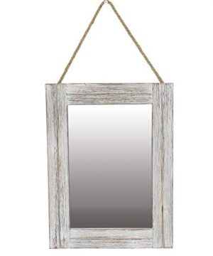 Emaison 16 X 12 Inch Rustic Wood Framed Wall Mirror With Hanging Rope For Farmhouse Decor For Entryway Bedroom Bathroom Dresser Wash White 0 300x360