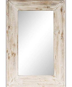 Emaison 36 X 24 Inches Wall Mounted Decorative Mirror Rustic Wood Framed Rectangular Hanging Mirror With 4 Hangers For Farmhouse Bathroom Entryway Bedroom Decor 0 300x360