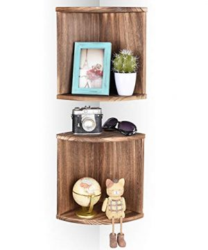 Emfogo Corner Wall Shelves Rustic Wood Floating Corner Shelves For Decor And Organization At Bedroom Kitchen Bathroom Set Of 2 0 300x360