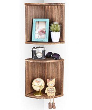 Emfogo Corner Wall Shelves Rustic Wood Floating Corner Shelves For Decor And Organization At Bedroom Kitchen Bathroom Set Of 2 0 300x360