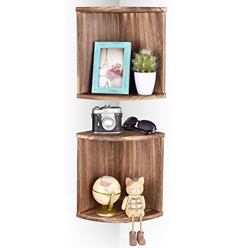 Emfogo Corner Wall Shelves Rustic Wood Floating Corner Shelves For Decor And Organization At Bedroom Kitchen Bathroom Set Of 2 0