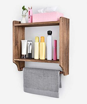 Emfogo Floating Shelves Wall Mounted Rustic Wood Wall Shelves With Large Storage 16 Inch Towel Bar And 8 Removable Hook For Kitchen Bathroom 0 1 300x360