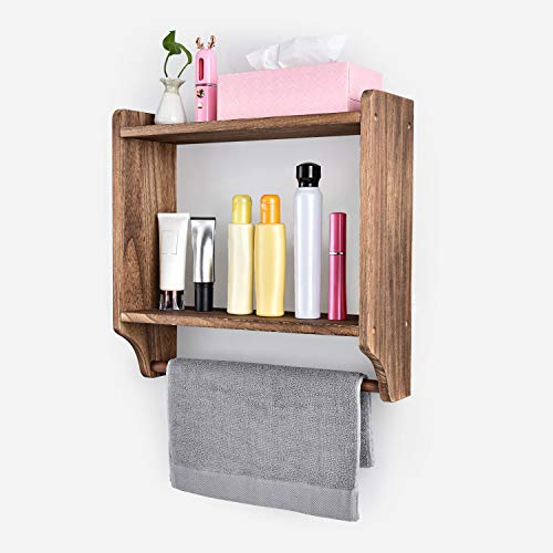 Emfogo Floating Shelves Wall Mounted Rustic Wood Wall Shelves With Large Storage 16 Inch Towel Bar And 8 Removable Hook For Kitchen Bathroom 0 1