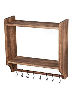 Emfogo Floating Shelves Wall Mounted Rustic Wood Wall Shelves With Large Storage 16 Inch Towel Bar And 8 Removable Hook For Kitchen Bathroom 0 2 300x360