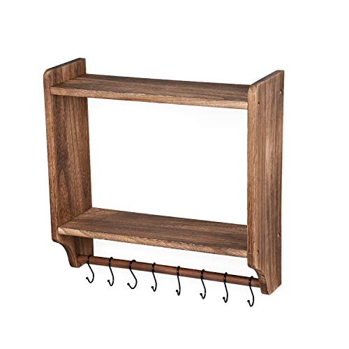 Emfogo Floating Shelves Wall Mounted Rustic Wood Wall Shelves With Large Storage 16 Inch Towel Bar And 8 Removable Hook For Kitchen Bathroom 0 2