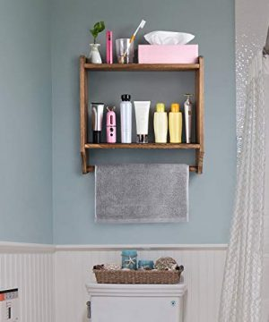Emfogo Floating Shelves Wall Mounted Rustic Wood Wall Shelves With Large Storage 16 Inch Towel Bar And 8 Removable Hook For Kitchen Bathroom 0 3 300x360