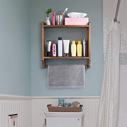 Emfogo Floating Shelves Wall Mounted Rustic Wood Wall Shelves With Large Storage 16 Inch Towel Bar And 8 Removable Hook For Kitchen Bathroom 0 3