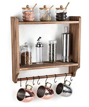 Emfogo Floating Shelves Wall Mounted Rustic Wood Wall Shelves With Large Storage 16 Inch Towel Bar And 8 Removable Hook For Kitchen Bathroom 0 300x360