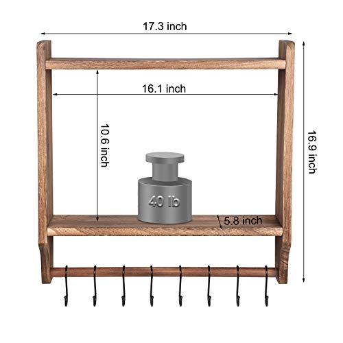 Emfogo Floating Shelves Wall Mounted Rustic Wood Wall Shelves With Large Storage 16 Inch Towel Bar And 8 Removable Hook For Kitchen Bathroom 0 5
