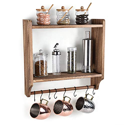 Emfogo Floating Shelves Wall Mounted Rustic Wood Wall Shelves With Large Storage 16 Inch Towel Bar And 8 Removable Hook For Kitchen Bathroom 0