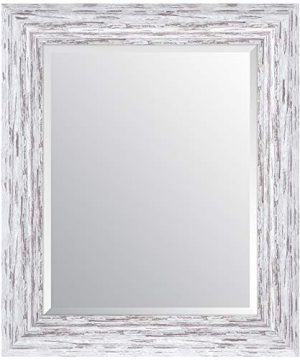 Everly Hart Collection Scoop Beveled Wall Mounted Accent Mirror 16 X 20 White 0 300x360