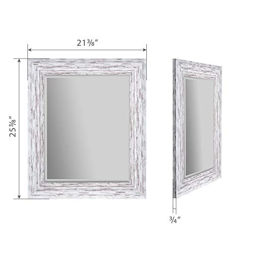 Everly Hart Collection Scoop Beveled Wall Mounted Accent Mirror 16 X 20 White 0 4