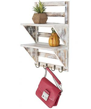 Excello Global Products 2 Tier Rustic Whitewashed Mounted Wood Wall Shelf With Shabby Chic Farmouse Decor With 4 Hooks Perfect For Any Room 0 300x360