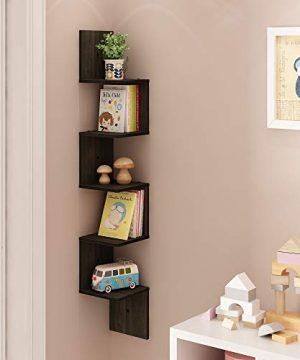 FURINNO 5 Tier Wall Mount Floating Corner Square Shelf Espresso 0 1 300x360