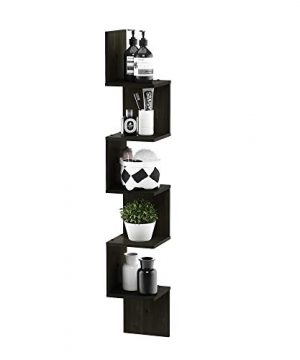 FURINNO 5 Tier Wall Mount Floating Corner Square Shelf Espresso 0 2 300x360