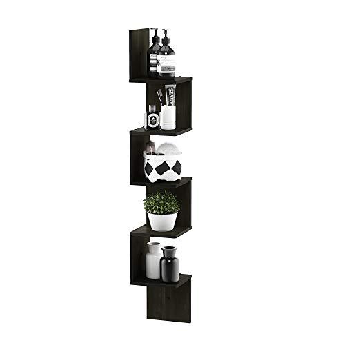 FURINNO 5 Tier Wall Mount Floating Corner Square Shelf Espresso 0 2