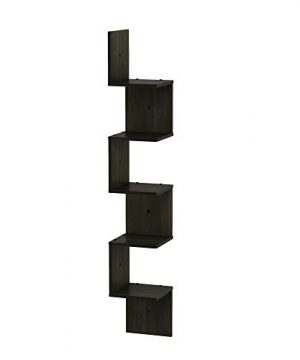 FURINNO 5 Tier Wall Mount Floating Corner Square Shelf Espresso 0 300x360