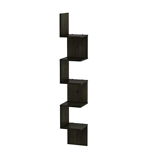 FURINNO 5 Tier Wall Mount Floating Corner Square Shelf Espresso 0