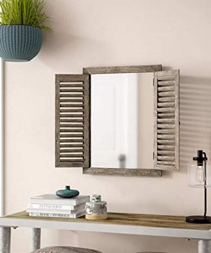 Farmhouse Decor Mirror With Frame Rustic Mirror With Wooden Frame And Shutter Design Product SKU SZ 7888 0 0 300x360