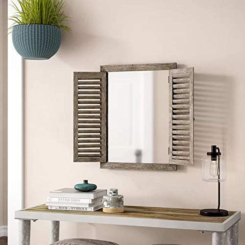 Farmhouse Decor Mirror With Frame Rustic Mirror With Wooden Frame And Shutter Design Product SKU SZ 7888 0 0