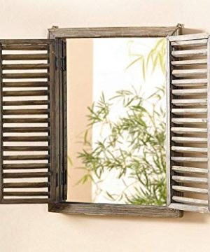 Farmhouse Decor Mirror With Frame Rustic Mirror With Wooden Frame And Shutter Design Product SKU SZ 7888 0 1 300x360