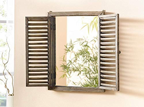 Farmhouse Decor Mirror With Frame Rustic Mirror With Wooden Frame And Shutter Design Product SKU SZ 7888 0 1
