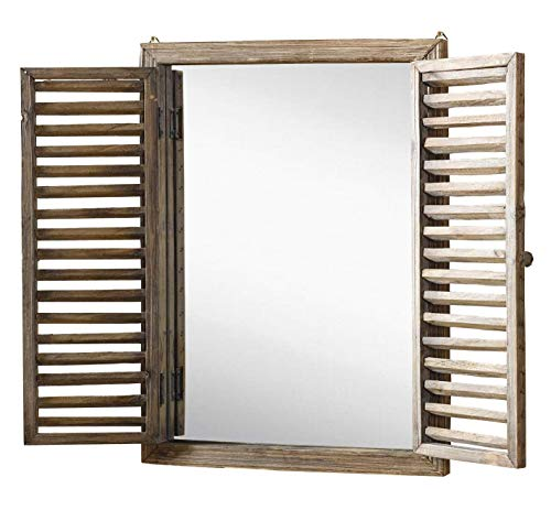 Farmhouse Decor Mirror With Frame Rustic Mirror With Wooden Frame And Shutter Design Product SKU SZ 7888 0