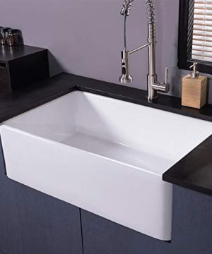 Farmhouse Fireclay Sink Lordear 30 Inch Gloss Black Apron Front Ceramic Porcelain Vitreous Single Bowl Kitchen Sink 0 0 300x360