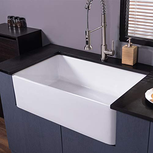 Farmhouse Fireclay Sink Lordear 30 Inch Gloss Black Apron Front Ceramic Porcelain Vitreous Single Bowl Kitchen Sink 0 0