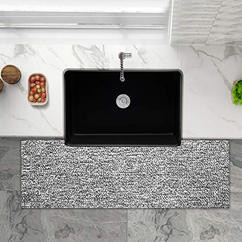 Farmhouse Fireclay Sink Lordear 30 Inch Gloss Black Apron Front Ceramic Porcelain Vitreous Single Bowl Kitchen Sink 0 1