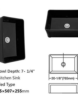 Farmhouse Fireclay Sink Lordear 30 Inch Gloss Black Apron Front Ceramic Porcelain Vitreous Single Bowl Kitchen Sink 0 3 300x360