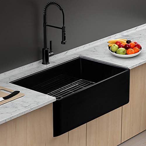 Farmhouse Fireclay Sink Lordear 30 Inch Gloss Black Apron Front Ceramic Porcelain Vitreous Single Bowl Kitchen Sink 0