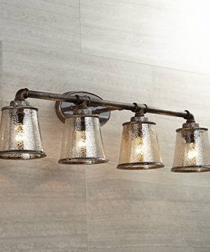 Fillmore Rustic Farmhouse Wall Light Industrial Rust Piping Hardwired 31 34 Wide 4 Light Fixture Tea Tone Seedy Glass For Bathroom Vanity Franklin Iron Works 0 300x360