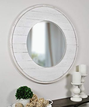 FirsTime Co Ellison Shiplap Accent Wall Mirror 27 Aged White 0 300x360