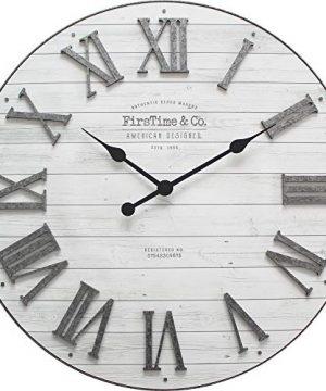 FirsTime Co Emmett Shiplap Wall Clock 27 Galvanized Silver White 0 0 300x360
