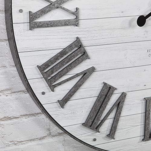 FirsTime Co Emmett Shiplap Wall Clock 27 Galvanized Silver White 0 1