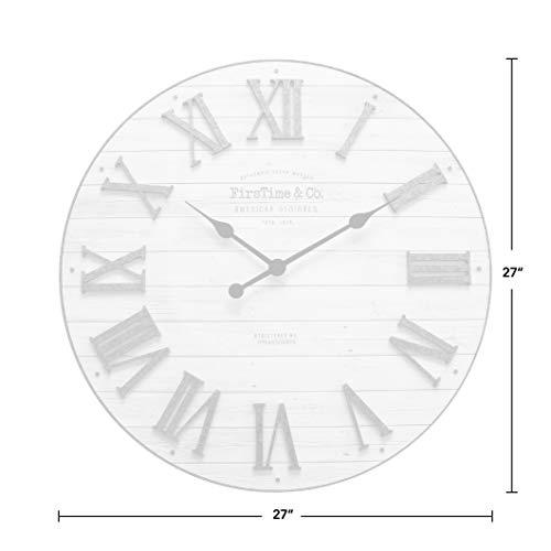 FirsTime Co Emmett Shiplap Wall Clock 27 Galvanized Silver White 0 2