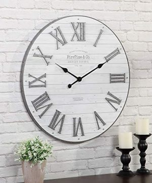 FirsTime Co Emmett Shiplap Wall Clock 27 Galvanized Silver White 0 300x360