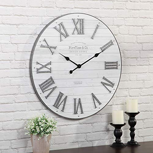 FirsTime Co Emmett Shiplap Wall Clock 27 Galvanized Silver White 0